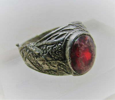 Queen Anne Period Silvered Decorative Ring With Faceted Red Glass Insert