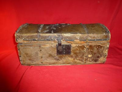 1832 Beaver Hide Covered Document Trunk Historical piece Great for Display