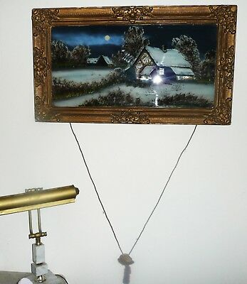 "Antique 28"" Reverse Painting On Glass A Winter Night In Frame"