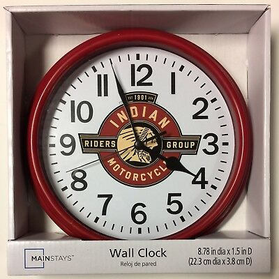 "Indian Motorcycles Rider's Group Motif Wall Clock NIB - 9"" With Battery"