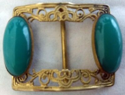 """Vintage Filigree Buckle With A Turquoise Coloured Stone- 1.50"""" X 1.25"""""""