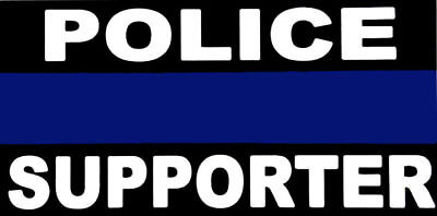"Police Supporter Thin Blue Line Vinyl Decal Bumper Sticker 3.75""x7.5"""