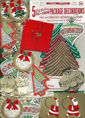 Vintage Lot Mid Century Christmas Gift Tags Glitter & Gold 1950's 1960's MCM