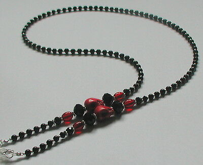NEW Black Glass Peal Beads Red Skull Glasses Chain Spectacles Holder