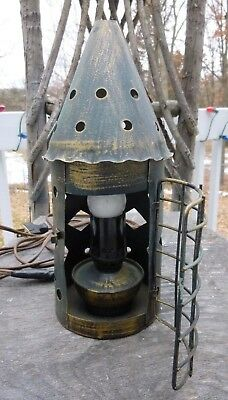 Old Primitive Colonial Electric Candle Light Pierced Metal Lantern