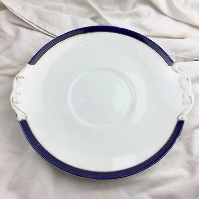 Antique Sutherland Art China Cake Serving Plate Sandwich Blue Rim