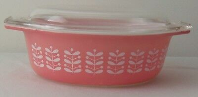 Vintage Pyrex Promotional Pink Stems #043 Casserole Dish With Lid Very Rare