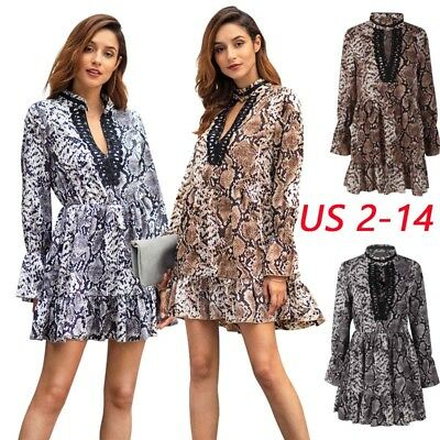 Women Leopard Print Deep V-Neck Long Sleeve Party Dress Club Wear Sexy Spring