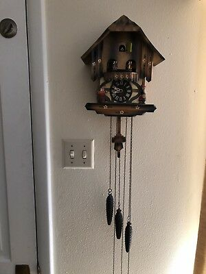 Vintage Cuckoo Clock Musical Chalet Black Forest West Germany