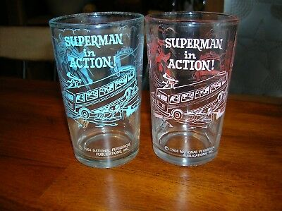 2 Vintage Superman In Action Drinking Glass 1964 Polaner Jelly Blue & Pink Set