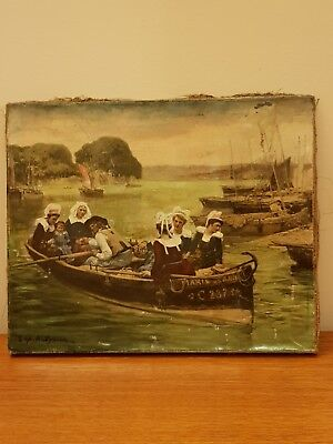Small French Victorian Oil Painting On Canvas Style Of Bridgman Harem Boat 22 27