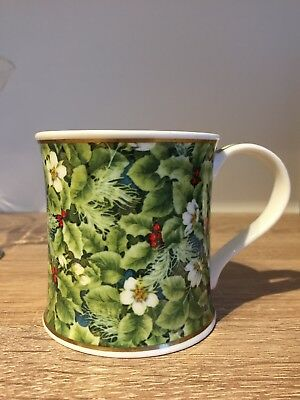 Dunoon Bone China Christmas Holly Mug by Michele Aubourg Boxed