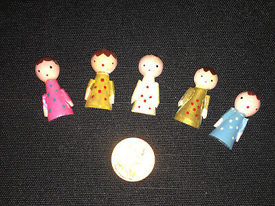 """Lot of 6 Tiny Vintage Wooden Christmas Angels  1 1/8"""" ~ JAPAN"""