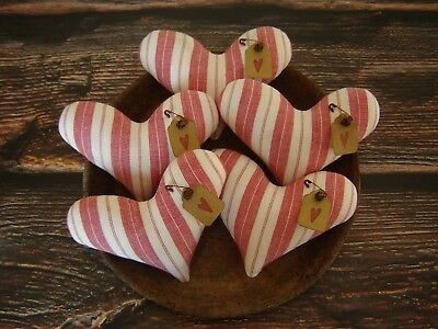 Primitive Heart Bowl Fillers ~ Valentines Day ~ Red & White Fabric ~ Ornies