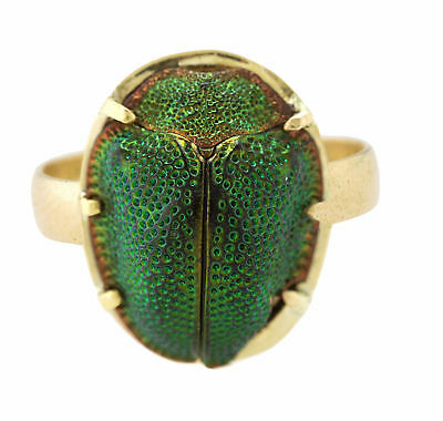 Ladies Vintage Antique 14K Yellow Gold Real Egyptian Scarab Beetle Bug Ring