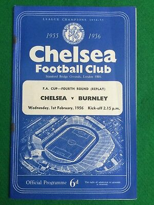 Football programme Chelsea v Burnley FA Cup replay 1st February 1956