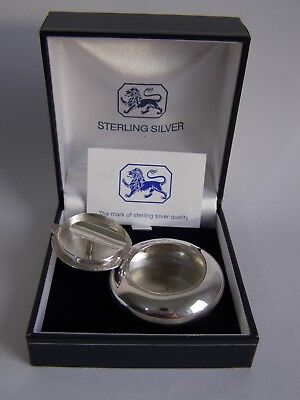 Sterling silver portable travel ashtray - in box - Ari D Norman London 2011