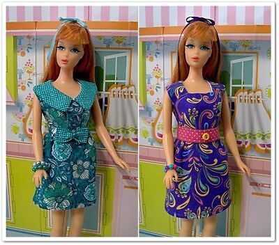 MOD ERA~YOUR CHOICE of 2 Outfits!~4pc Mini Dress~Made To Fit TNT Barbie~Handmade