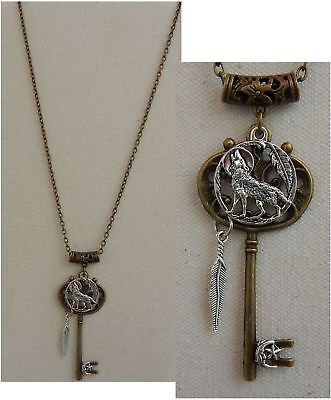 Wolf Moon Key Necklace Pendant Jewelry Handmade NEW Silver Fashion Chain Gold