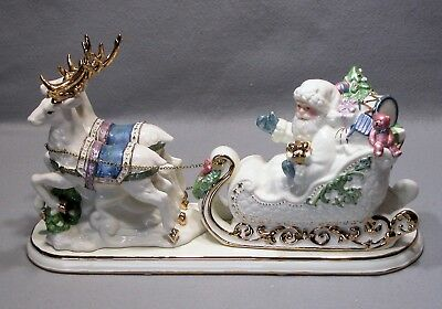 Santa, Sleigh & Reindeer By Living Quarters Ceramic Table Piece