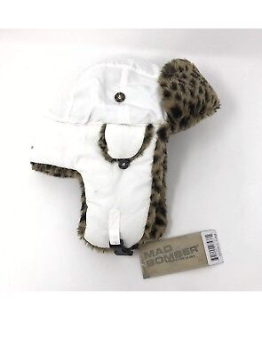 c8fe568437cdf5 Mad Bomber Hunting Trapper Hat Adult Size XL White Faux Fur Leopard Lined  NEW