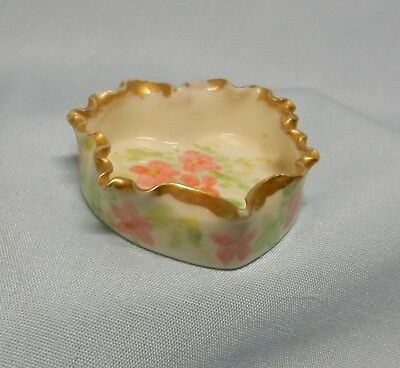 Antique Willets Belleek Hand Painted Pink Floral Open Salt Cellar !  NICE