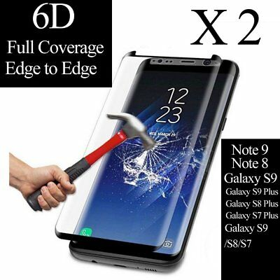2X For Samsung Galaxy Note 9 8 S9 S8 Plus Glass Screen Protector [Case Friendly]