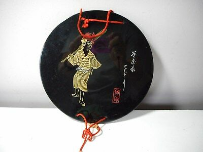 Japanese Ryukyu lacquer round wall hanging wood ornament 14K gold details UNIQUE