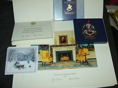 2003 White House Christmas Large&Small Card & ORNAMENT President GEORGE W. BUSH