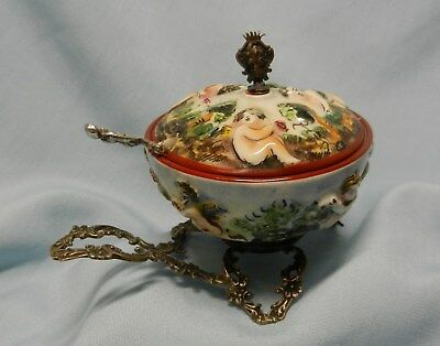 Vintage Sterling Capodimonte Cherub Salt Cellar w/ Elaberate 3 Foot Legs/Handle