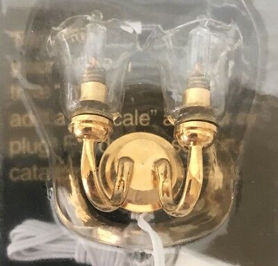 Miniature Dollhouse Dual Clear Tulip Wall Sconce Gold Clear Electricial New