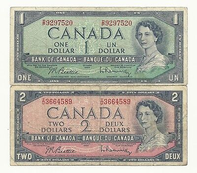2 x CANADA 1954 BANK NOTES (One and Two)