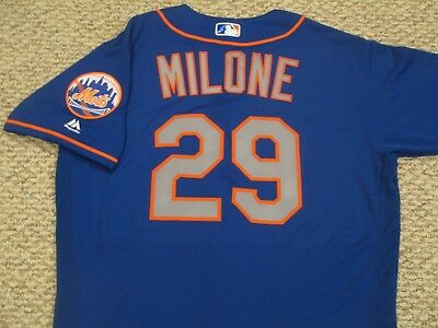 TOMMY MILONE size 46 #29 2017 New York Mets game jersey issue road blue MLB HOLO