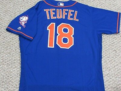 TIM TEUFEL size 46 #18 2016 New York Mets game jersey issued home blue MLB HOLO