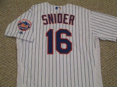 TRAVIS SNIDER sz 48 #16 2017 New York Mets game jersey issue home white MLB HOLO