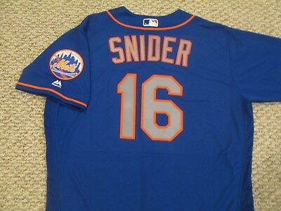 TRAVIS SNIDER sz 48 #16 2017 New York Mets game jersey issue road blue MLB HOLO
