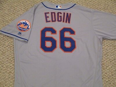 JOSH EDGIN size 50 #66 2017 New York Mets game jersey issued road gray MLB HOLO