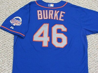 GREG BURKE size 48 #46 2013 New York Mets GAME USED jersey road blue MLB HOLO