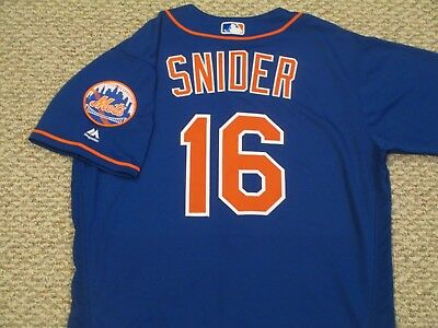 TRAVIS SNIDER sz 46 #16 2017 New York Mets game jersey Home Alt Blue MLB HOLO