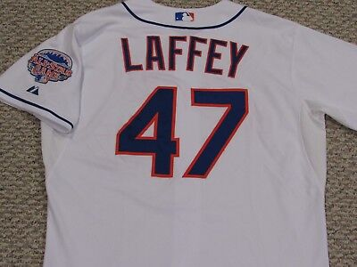 LAFFEY size 46 #47 2013 New York Mets game jersey home white issued MLB HOLOGRAM