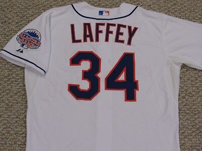 LAFFEY size 46 #34 2013 New York Mets game jersey home white issued MLB HOLOGRAM