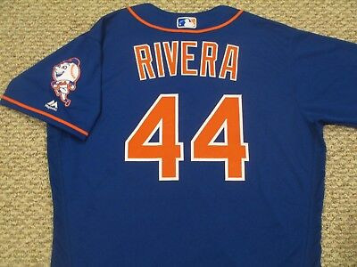 RENE RIVERA sz 48 #44 2016 New York Mets game jersey Home Alt Blue MLB HOLO
