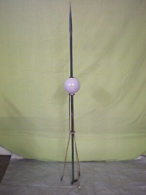Antique/Vintage- Lightning Rod W/ Purple Glass Ball & Roof Mounting Bracket.