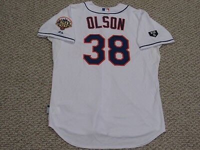 GARRETT OLSON size 48 #38 2012 Mets game jersey Home White  MLB HOLOGRAM 2 PATCH
