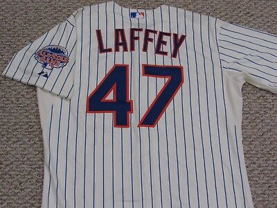 LAFFEY size 46 #47 2013 New York Mets game jersey issued home cream MLB HOLOGRAM
