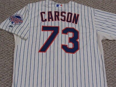 CARSON sz 50 #73 2013 New York Mets game jersey issued home cream MLB HOLOGRAM