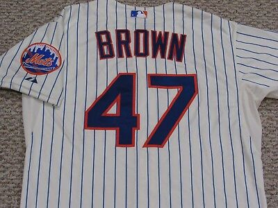 BROWN size 46 #47 2014 New York Mets game jersey issued home cream MLB hologram