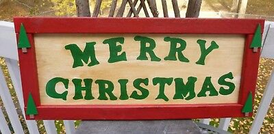 Country Primitive Merry Christmas Wooden Sign Hand Made & Painted