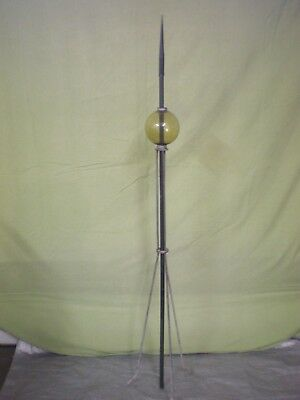 Antique/Vintage- Lightning Rod W/ Amber Glass Ball & Roof Mounting Bracket.