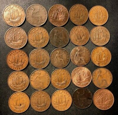Vintage Great Britain Coin Lot - 25 Older HALF Pennies - 1887-1967 - Lot #D10